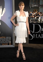 Bella Heathcote looked divinely beautiful wearing a chiffon dress at the LA premiere of 'Dark Shadows'.