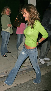 Jill Wagner donned a vibrant lime crew neck sweater on a night out.