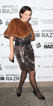 Sadie Frost wore a stylish fur topper over her sequin dress at the 'Dazed and Confused' 20th Anniversary Party.