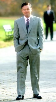 Leonardo DiCaprio looked a little old-fashioned in a patterned gray suit while filming 'The Wolf of Wall Street.'