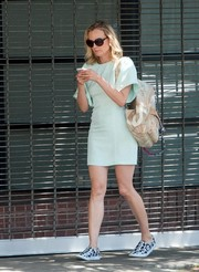 Diane Kruger was spotted out and about wearing a simple yet pretty mint-green mini dress.