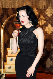 Dita Von Teese's perfectly manicured nails were painted a classic red for the launch of My Cointreau Travel Essentials in Milan.