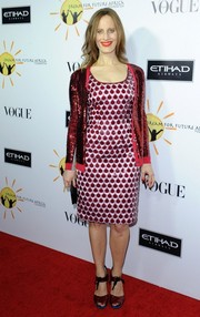 Liz Goldwyn looked flashy in a patterned cocktail dress paired with a sparkly cardigan during the Dream for Future Africa Foundation Gala.