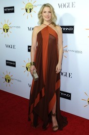 Ali Larter looked diva-ish in a flowy orange and brown halter dress by Donna Karan during the Dream for Future Africa Foundation Gala.