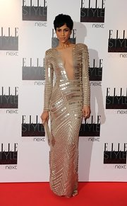 Zawe went for unabashed glamour in this paillette gown with a a deep mesh neckline at the Elle Style Awards.