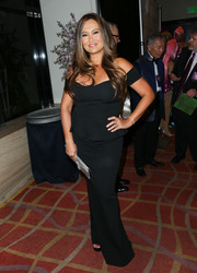 Tia Carrere attended the East West Players 50th anniversary dinner wearing a classic black off-the-shoulder column dress.