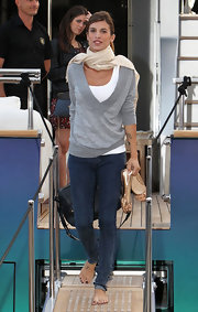Elisabetta looked casual cool at Cannes in a gray v-neck slouchy sweater.