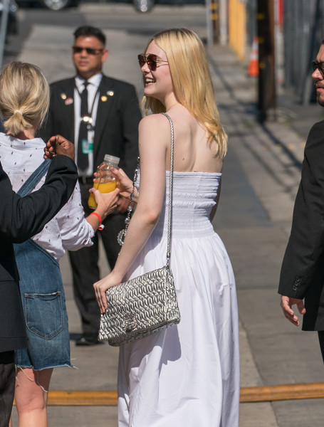 Elle Fanning Metallic Shoulder Bag []