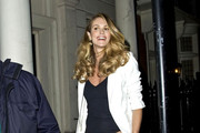 ***NO GERMANY / SWITZERLAND***.Elle Macpherson is seen in leopard harem pants as she leaves Mark's Place in Mayfair.