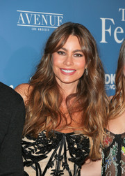 Sofia Vergara sported a loose wavy hairstyle with parted bangs at the premiere of 'The Female Brain.'