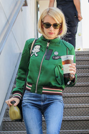 Emma Roberts shielded her eyes behind a pair of tortoiseshell cateye sunnies while out shopping.
