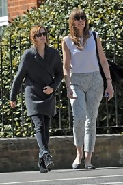 Emma Watson pulled her ensemble together with a pair of black lace-up ankle boots by Rag & Bone.