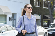 Emmy Rossum Suede Shoulder Bag