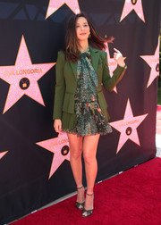 Olivia Munn was summer-chic in a printed mini dress by Alberta Ferretti during Eva Longoria's Hollywood star ceremony.