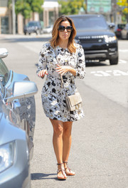 Eva Longoria went out and about in LA looking cute in an A.L.C. printed mini dress.