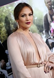 Jennifer Lopez attended the 'What to Expect When You're Expecting' premiere wearing a pair of 18-carat rose gold champagne and white diamond earrings.