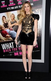 Whitney Port accessorized with gold-plated crystal bangles and a gold channel-set crystal bangle.