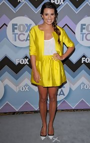 Lea went for a bright look at the Fox All-Star Party in this electric yellow jacket and skirt set.