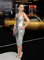 "Carla Gugino glimmered in silver Brian Atwood ""Wagner"" pumps. The peep toes were picture perfect paired with a beaded silver cocktail dress."