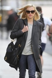 Fearne Cotton wore this long gray blazer coat out in London.