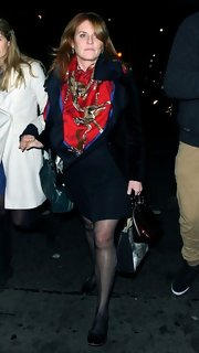 Sarah Ferguson added a fab clothing article to make her classic outfit pop-up, this time with a printed silk scarf.