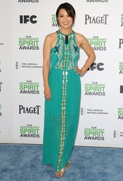 Ming-Na Wen donned a chic beaded turquoise gown for the Film Independent Spirit Awards.