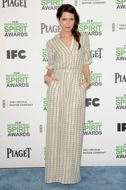 Katie Aselton was casual yet smart in a patterned maxi dress during the Film Independent Spirit Awards.