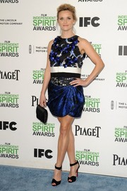 Reese Witherspoon finished off her outfit with a draped mini skirt, also by Giambattista Valli Couture.