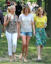 Cameron chose a bold leopard-print top for her look at the filming of 'The Other Woman.'