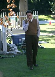 Leonardo DiCaprio really looked the part in a brown vest over a button-down and tie while filming 'J. Edgar.'