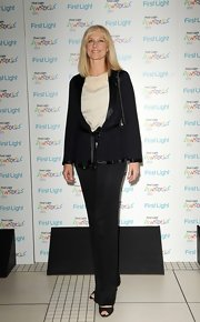 Joely Richardson looked mature and sophisticated in these pin-striped slacks.