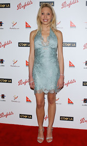 Chloe looked lovely in a light blue lace halter dress.