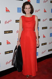 Although the lines of Ione's dress were clean and simple, its fiery hue really packed a punch on the red carpet.