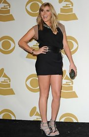 Grace Potter was chic in black at the Grammy Nominations Concert. The talented starlet accessorized her look with gray strappy sandals.