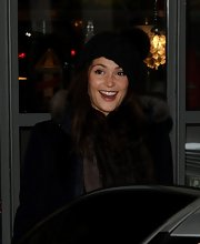 Gemma Arterton's pom pom beanie was both warm and stylish for her London trip.