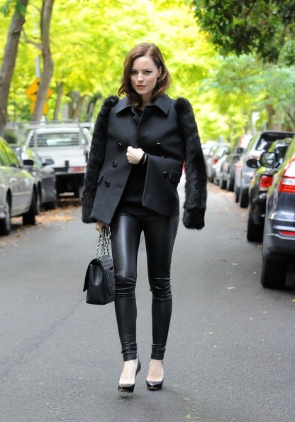 Melissa was decked out in Monika Chiang's fur-clad jacket, leather leggings, and stilettos while running errands.