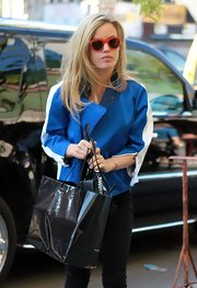 Georgia May Jagger chose an electric blue motorcycle jacket for her chic daytime look while out in NYC.
