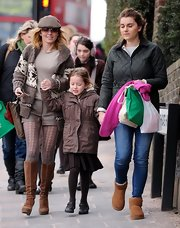 Geri Halliwell sported a print shawl-collar cardigan while taking her daughter to school in London.