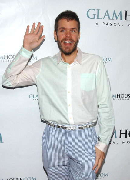 Perez Hilton finished off his colorful ensemble with a studded belt at the Glamhouse.com launch party.