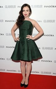 Lily Collins was sweet in this forest green brocade frock at the Glamour Women of the Year Awards.