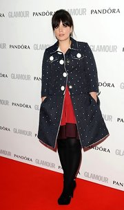 Lily Allen looked playful on the red carpet of the Glamour Women of the Year Awards in this beaded navy jacket.