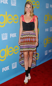 Heather Morris paired this layered corset top with her unique skirt.