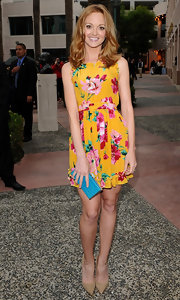 Jayma Mays looked lovely in bright floral at the 'Glee' Academy Screening.