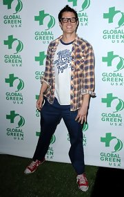 Johnny Knoxville opted for his signature casual style with this plaid button down and t-shirt combo.