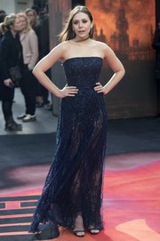 Elizabeth Olsen was a vision in a subtly sparky navy strapless gown by Elie Saab during the 'Godzilla' premiere in London.