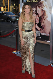 Drew Barrymore wore a  Resort 2010 gold brocade dress to the premiere of her newest film 'Going The Distance'.