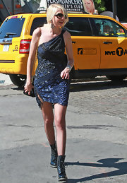 Taylor filmed scenes for the new season of 'Gossip Girl' in a sparkling one shoulder dress.
