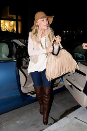Gretchen Rossi dined at Villa Blanca in brown leather over-the-knee boots.