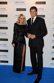 Hayley Roberts' long-sleeve black evening dress at the Grey Goose Winter Ball seemed modest at first, until you see that thigh-high slit.