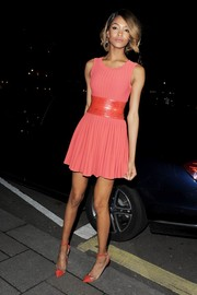 Jourdan Dunn matched her frock with a brightly hued pair of ankle-strap PVC pumps.